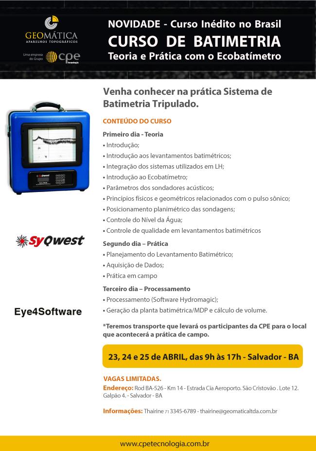 Batimetria é tema de curso da CPE Tecnologia em Salvador