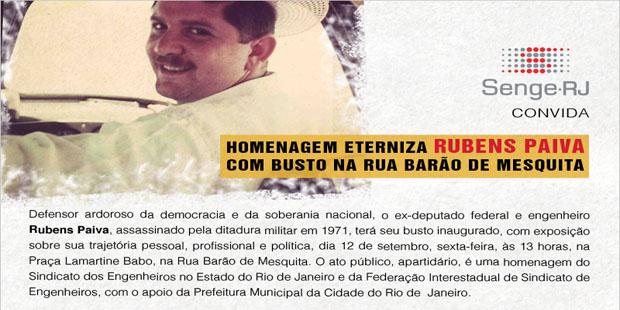 Rubens Paiva é eternizado com busto na Rua Barão de Mesquita, RJ