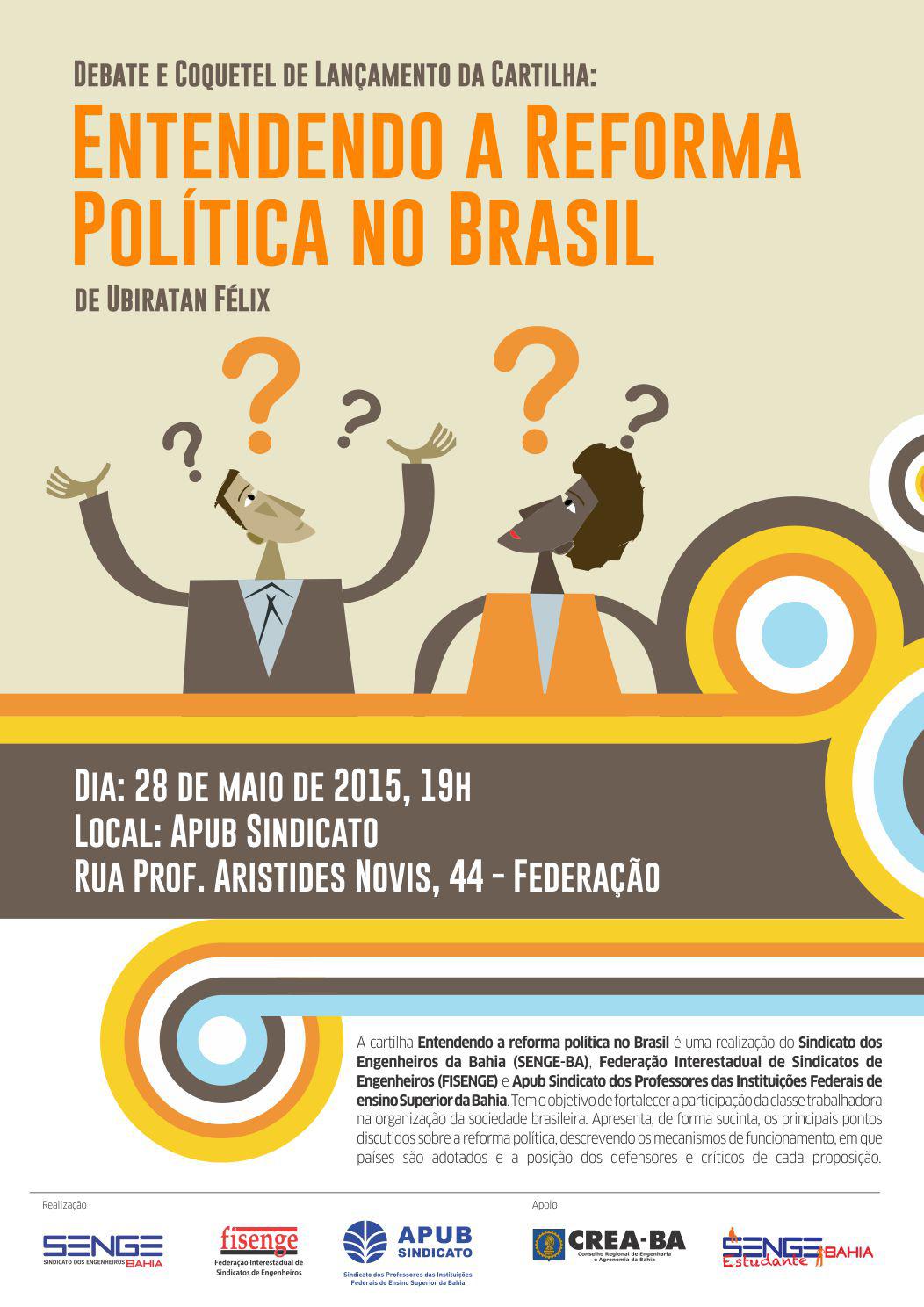 Cartaz lancamento cartilha reforma politica