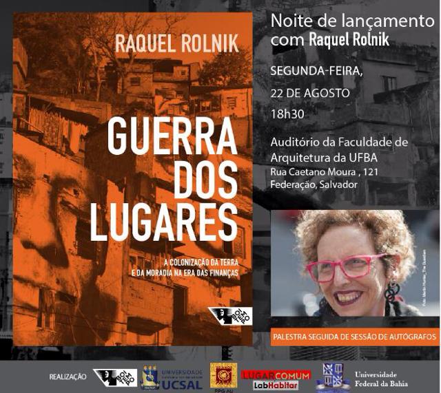 Cartaz evento Raquel Rolnik