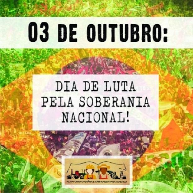 Mobilização pela Soberania Nacional terá caminhada no Rio de Janeiro e paralisação no setor elétrico