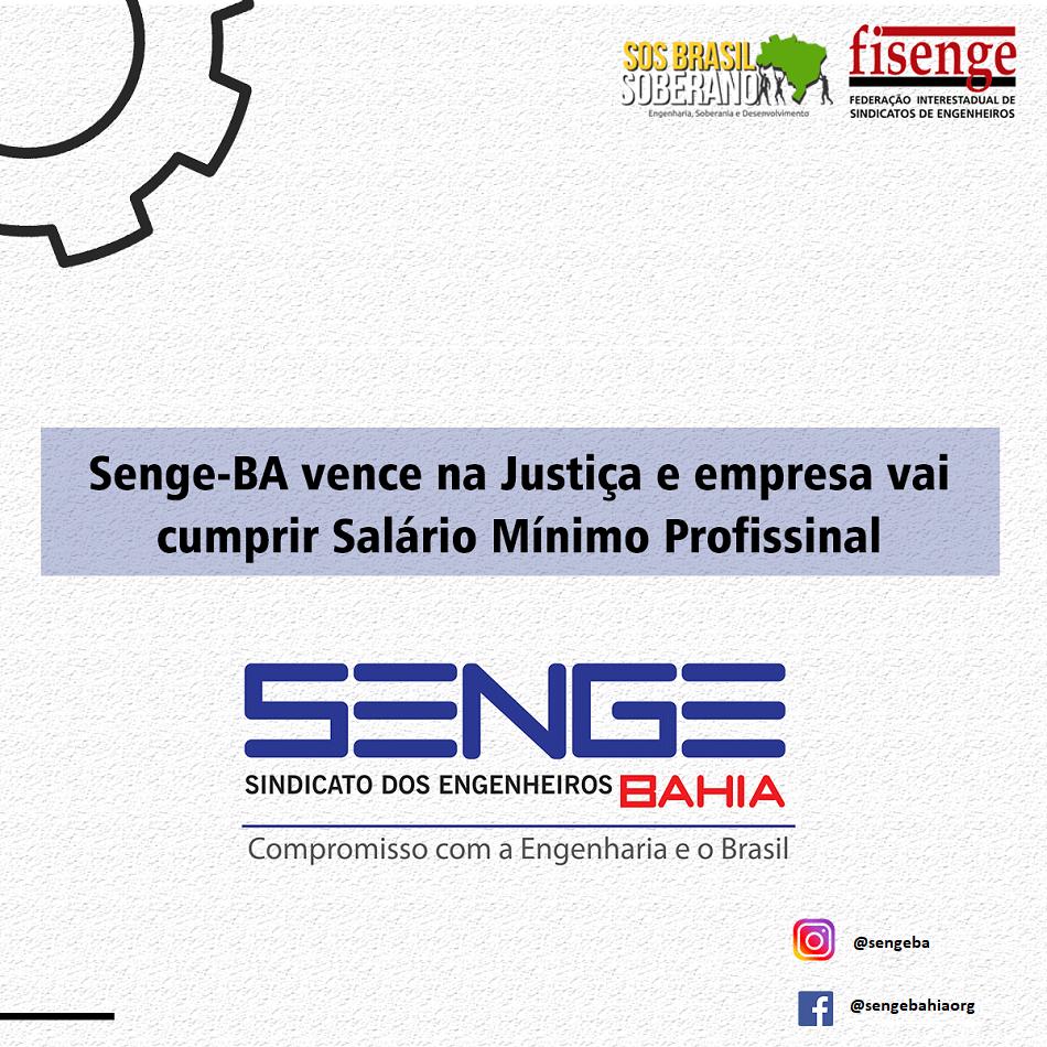 Senge-BA vence na Justiça e empresa vai cumprir Salário Mínimo Profissional