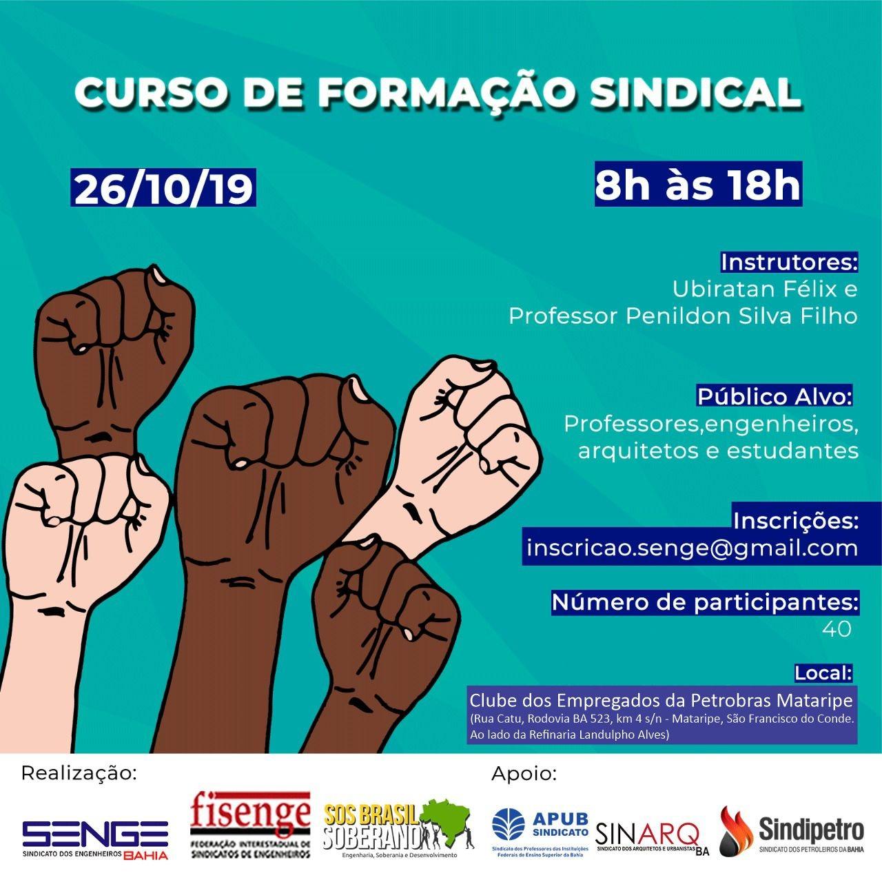 Senge-BA e Plataforma Operária e Camponesa realizam cursos de formação sindical e política