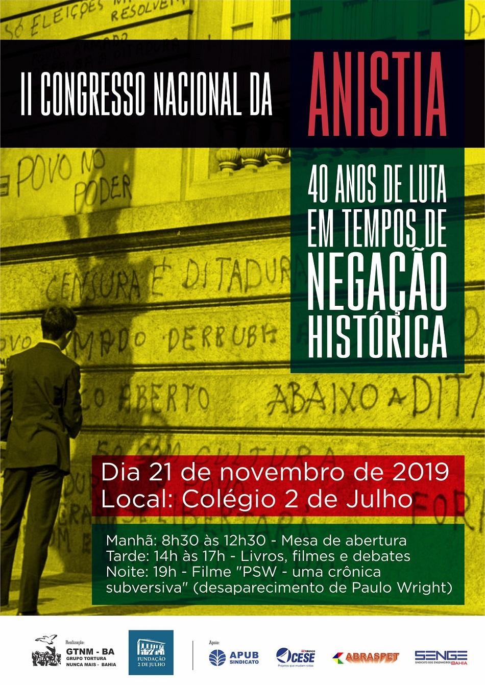 Evento celebra os 40 anos do II Congresso Nacional da Anistia