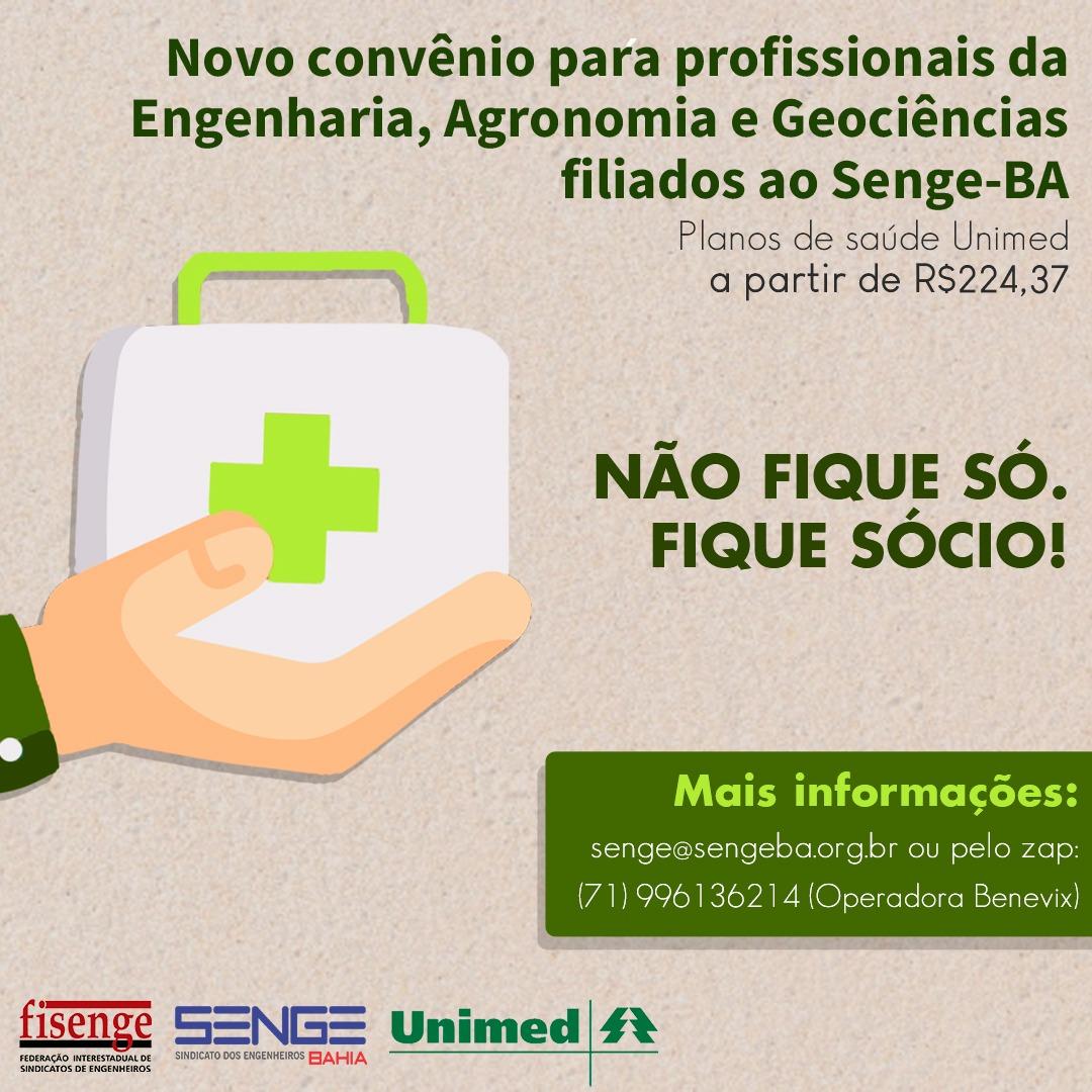 Orientações para adesão ao convênio de plano saúde entre o Senge Bahia e Unimed/Benevix