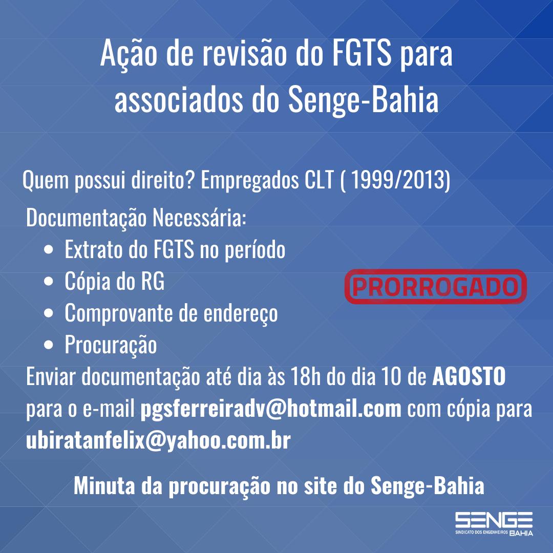 Senge-Ba divulga informações sobre ação judicial de correção do saldo do FGTS